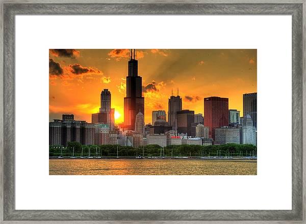 Hdr Chicago Skyline Sunset Framed Print