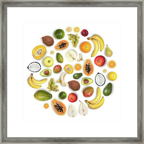 Healthy Fruits Arranged In A Round Framed Print