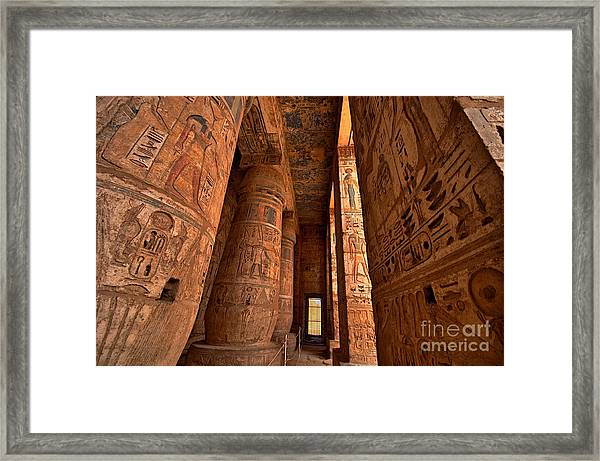 Heiroglyphs At Medinat Habu. Luxor Framed Print