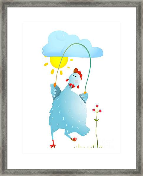 Hen Jumping Rope Childish Cartoon Framed Print