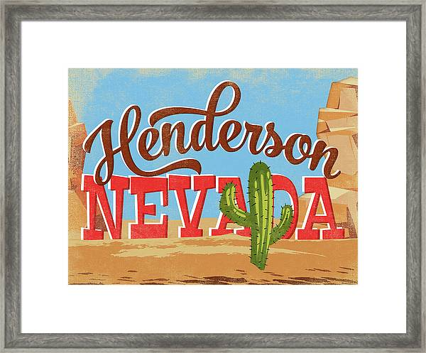 Henderson Nevada Cartoon Desert Framed Print