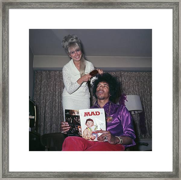 Hendrix Hair Framed Print by Rolls Press/popperfoto