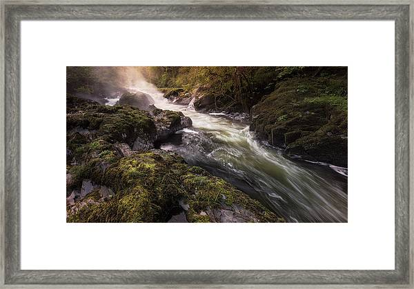 Framed Print featuring the photograph The Teifi At Henllan Falls by Elliott Coleman