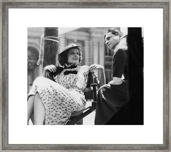 Hepburn On Set Framed Print