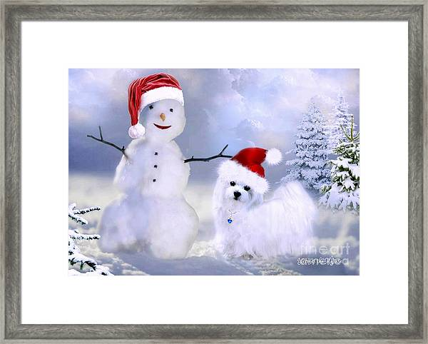 Hermes And Snowman Framed Print
