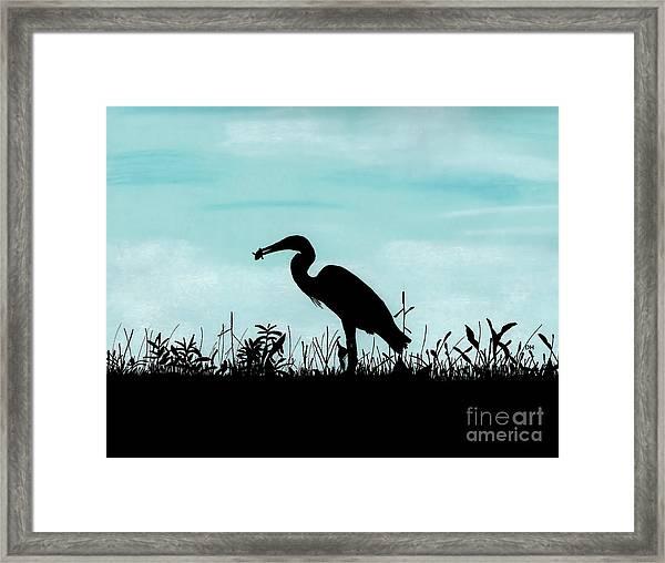 Heron Has Supper Framed Print