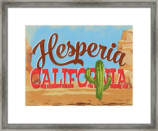Hesperia California Cartoon Desert Framed Print
