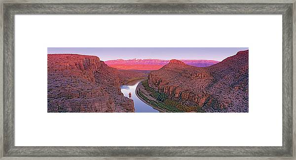 High Angle View Of A River Running Framed Print