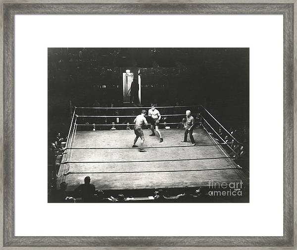 High Angle View Of Boxing Match Framed Print
