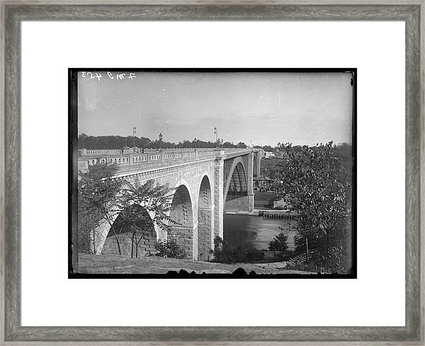 High Bridge Connecting Manhattan And Framed Print