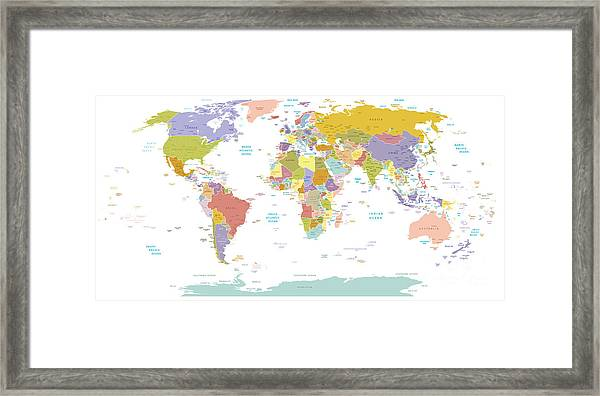 High Detail World Map.all Elements Are Framed Print