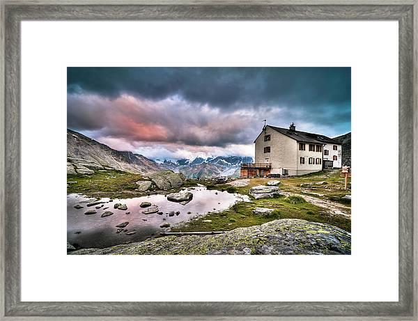 High Mountain Shelter At Sunset Framed Print