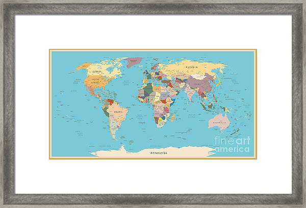 Highly Detailed World Map With Vintage Framed Print
