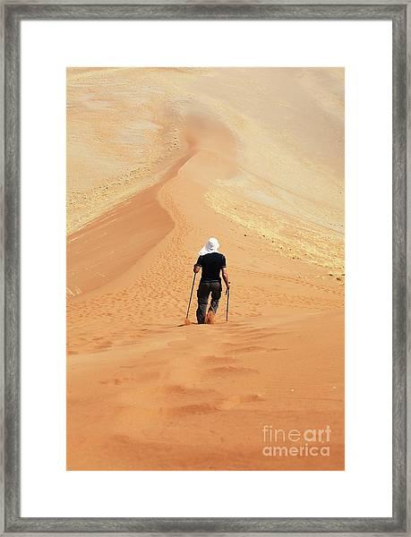Hike In Sand Desert Framed Print