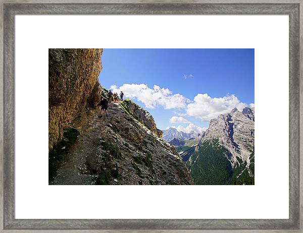 Hikers On Steep Trail Up Monte Piana Framed Print