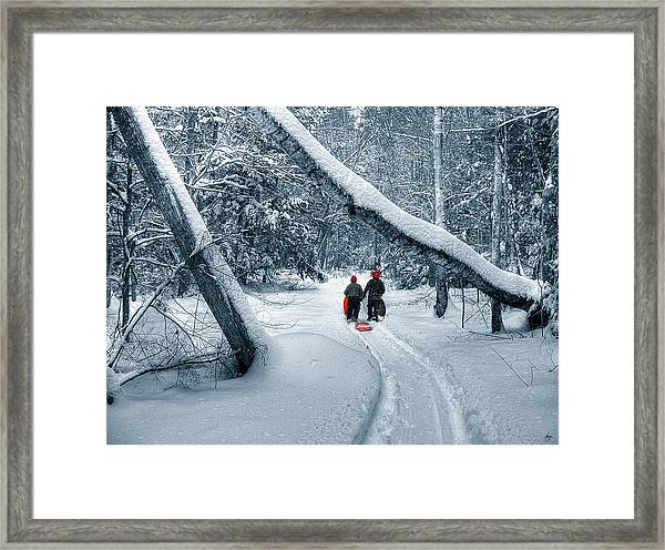 Hiking Into The Gully Framed Print