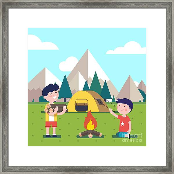 Hiking Kids At The Campfire Near Their Framed Print