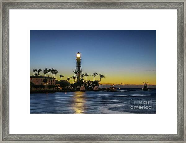 Framed Print featuring the photograph Hillsboro Light Reflection by Tom Claud