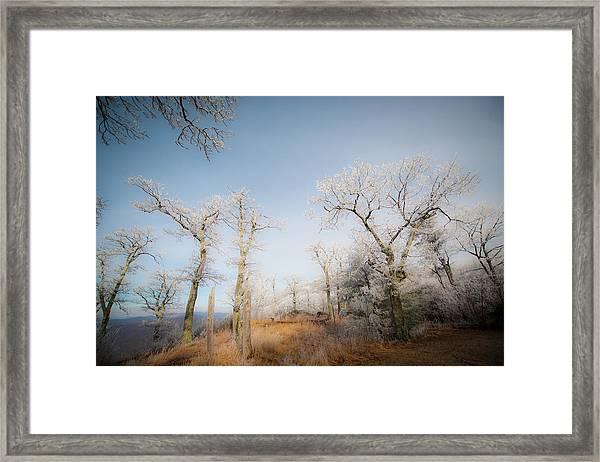 Hilltop Hoarfrost Framed Print