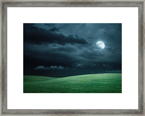 Hilly Meadow At Night With Full Moon Framed Print