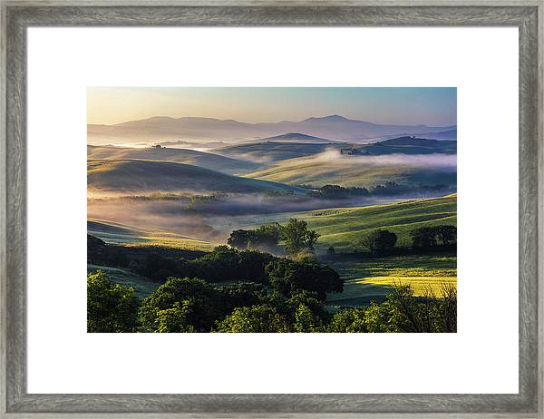 Hilly Tuscany Valley Framed Print