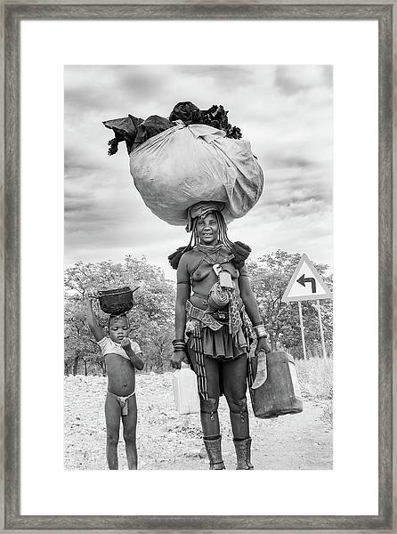 Himba Both Carrying  Framed Print
