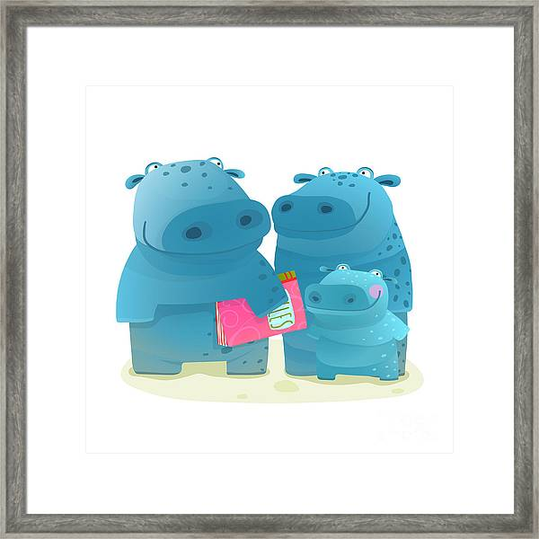 Hippopotamus Family With Book. Mother Framed Print