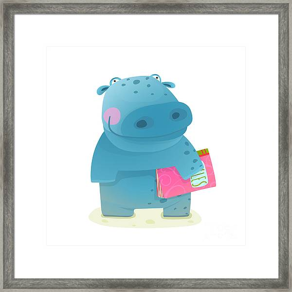 Hippopotamus Kid With Book Study Framed Print