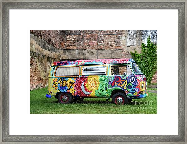 Hippie Dippie Vw Micro Bus Framed Print