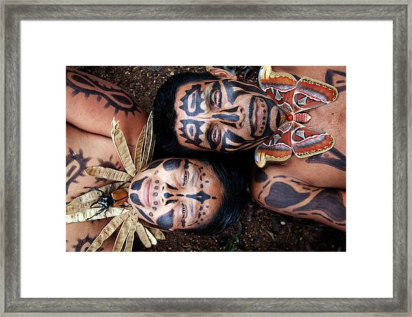 Hispanic Couple With Painted Faces And Framed Print by Pixelchrome Inc