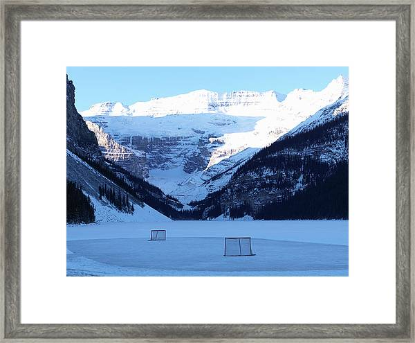 Hockey Net On Frozen Lake Framed Print