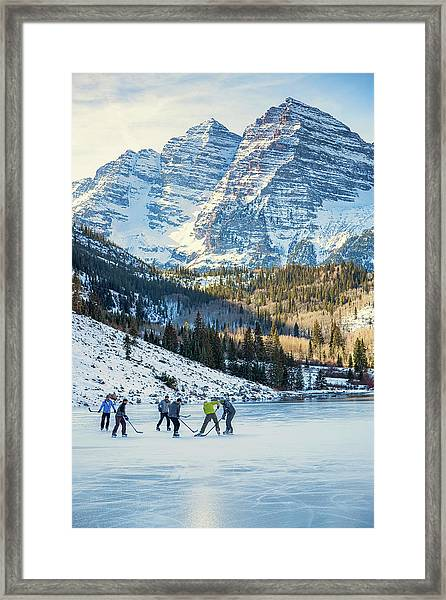 Hockey On Maroon Lake Maroon Bells Aspen Colorado Framed Print