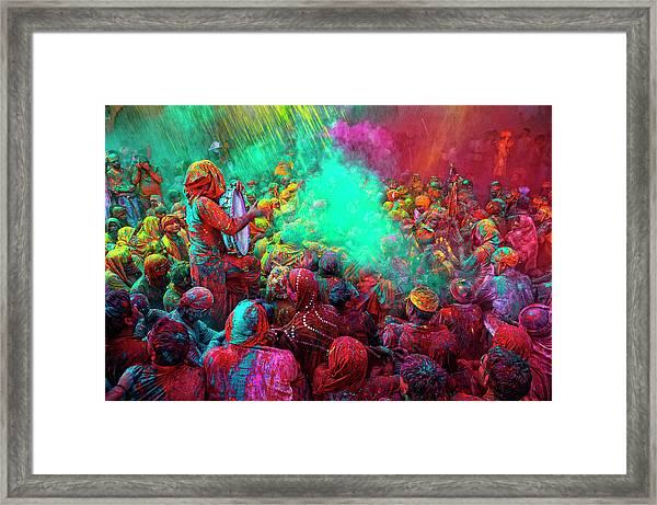 Holi Festival Celebrations In Mathura Framed Print
