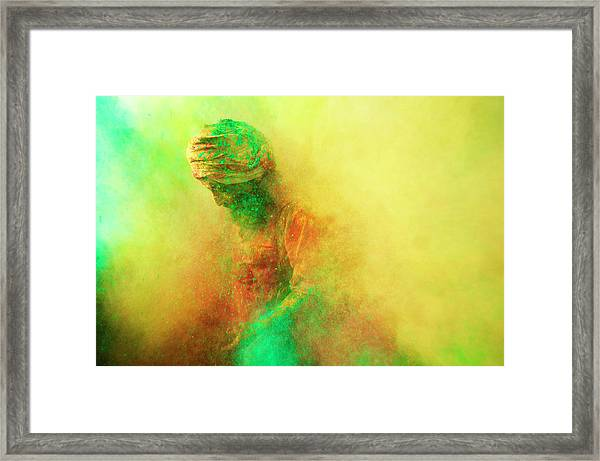 Holi, Festival Of Colors, India Framed Print by Poras Chaudhary