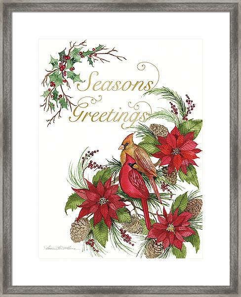 Holiday Happiness Vi Greetings Framed Print by Kathleen Parr Mckenna