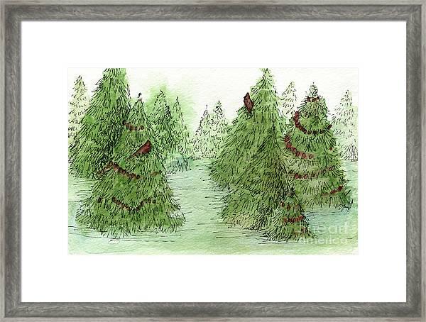 Holiday Trees Woodland Landscape Illustration Framed Print
