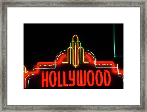 Hollywood Neon Sign, Los Angeles Framed Print