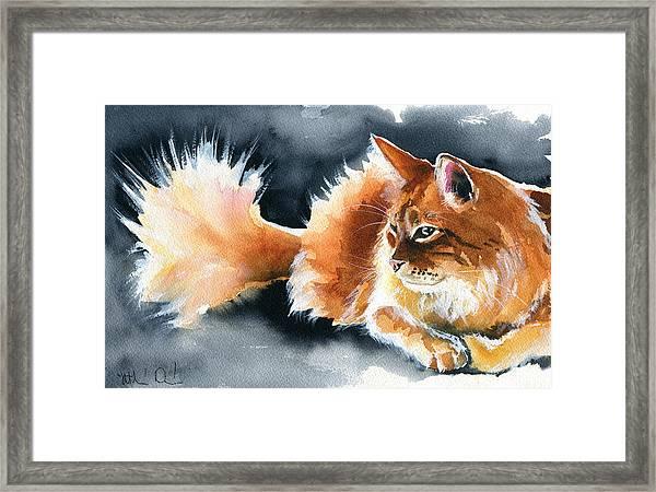Holy Ginger Fluff - Cat Painting Framed Print
