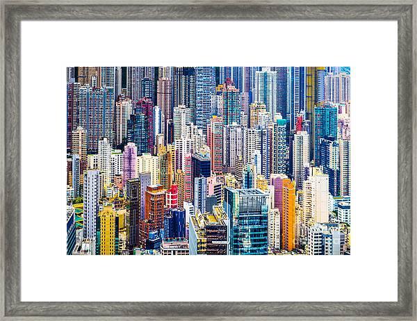 Hong Kong, China Dense Cityscape Of Framed Print