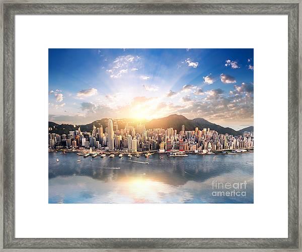 Hong Kong Skyline. Hongkong Hdr Aerial Framed Print