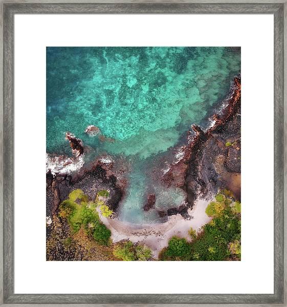 Honokohau Harbor Beach Aerial Framed Print