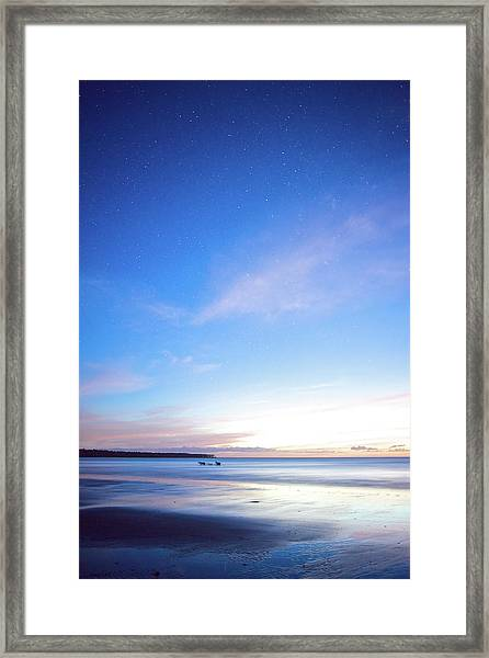 Horses Play In The Surf At Twilight Framed Print