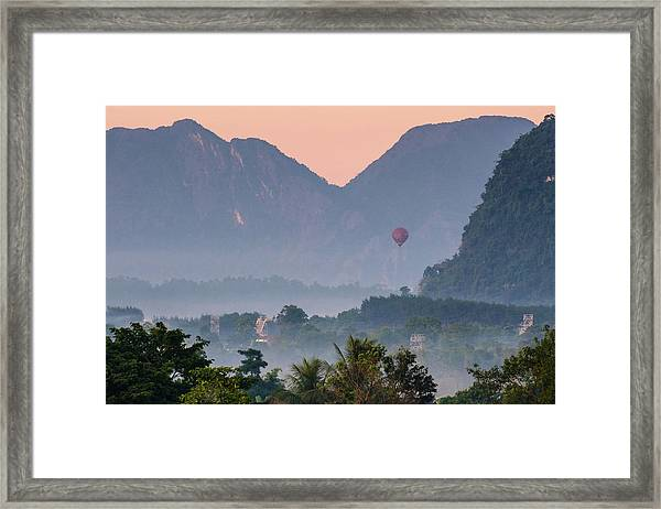 Framed Print featuring the photograph Hot Air Ballon In Laos by Nicole Young