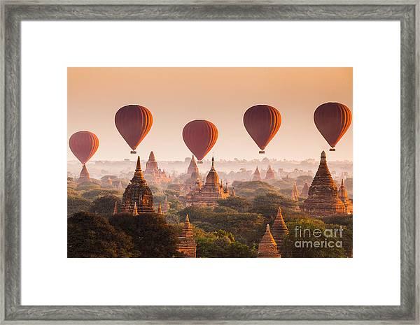 Hot Air Balloon Over Plain Of Bagan At Framed Print