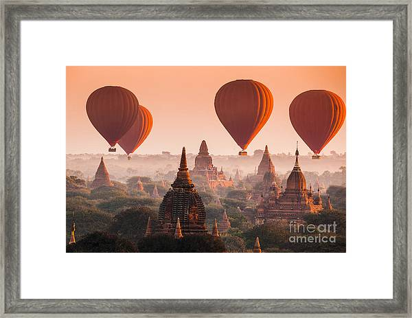 Hot Air Balloon Over Plain Of Bagan In Framed Print