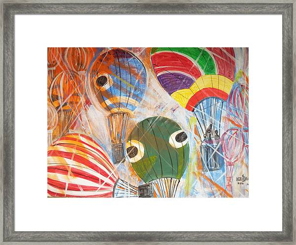 Framed Print featuring the painting Hot Air Balloons by Hoda Said Ibrahim