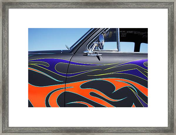 Hot Rod Car With Colorful Flame Design Framed Print by Nash Photos