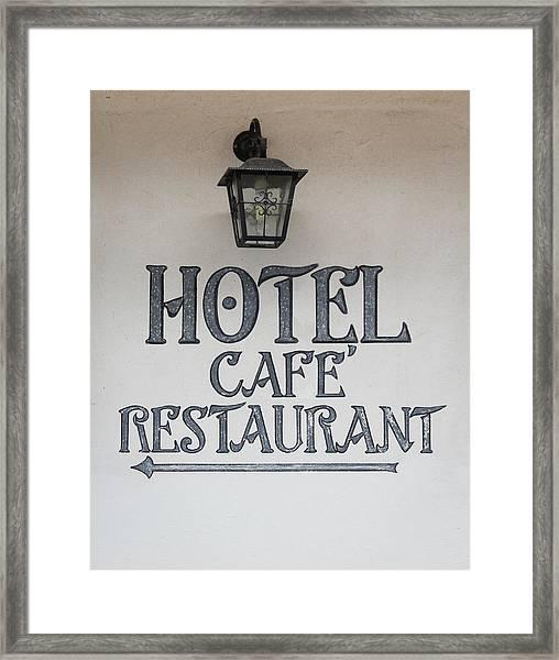 Hotel Cafe Restaurant Painted Sign Framed Print