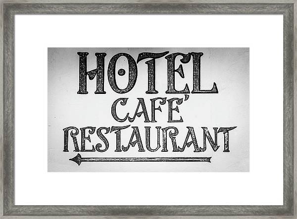 Hotel Cafe Restaurant Sign Framed Print