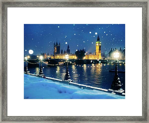 Houses Of Parliament In Snow In London Framed Print